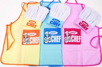 Childrens Junior Chef Hat and Apron Set Yellow